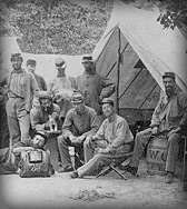 The 8th New York State Militia at camp near Arlington House, Arlington Heights, Alexandria County, Virginia, circa June 1861