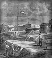 The entrenched naval batteries at Camp Pickens, Manassas Junction, Virginia, 14 September, 1861